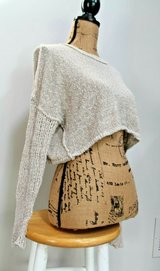 Adorable Cropped Textured Knit Long Sleeve Tan Sweater, Open Weave Sleeves, X-Small in Bolingbrook, Illinois