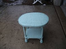 WICKER TABLE WITH SHELF MINT in Naperville, Illinois