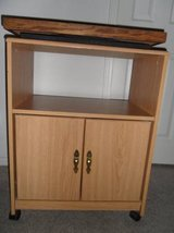 Wooden entertainment cart on wheels w/ option rotating table top in Camp Pendleton, California