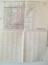 vintage 1968 downtown chicago major buildings transportation map in Aurora, Illinois