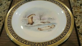 REDUCED!!!  Lenox River Otters Woodland Wildlife Plate with Gold and Cobalt Blue Trim in Fairfax, Virginia