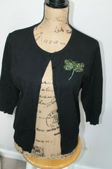 Notations Black Button Front Silk Blend Cardigan w/Sequin/Beaded Dragonfly, Lg in Bolingbrook, Illinois