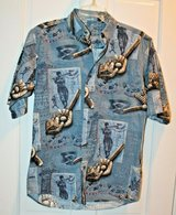 Casual Button Front Blue Shirt, Baseball Motif, Small in Plainfield, Illinois