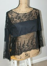 Sharp FREE PEOPLE Crop Top Black w/Black Sheer Lace, Bell Sleeves, X-Small in Plainfield, Illinois