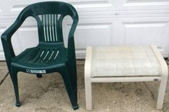 Outdoor Plastic Lawn / Patio Chair + footstool in Lockport, Illinois