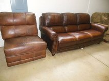 Nice Matching Italian Leather Couch And Matching Chair in Chicago, Illinois