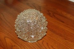 Vintage Crystal Clear Diamond Cut Glass Ball Hanging Light Fixture Glo in Spring, Texas