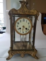 Antique Japy Freres art nouveau French brass and beveled glass regulator clock in Fairfax, Virginia