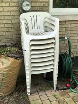 9 White Polypropylene High-Back Chairs in Glendale Heights, Illinois