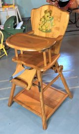 Vintage Antique 1940's Convertible / Folding Wood High Chair - UNIQUE! in Yorkville, Illinois