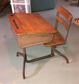 Antique Rare 1940's - 1950's School Desk & Chair - Metal & Wood - Adjustable Height in Plainfield, Illinois
