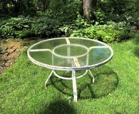 "48"" Patio Table with Glass Top - Frame Needs Paint in Glendale Heights, Illinois"