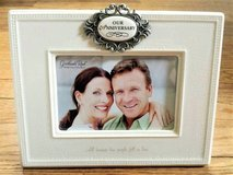 OUR ANNIVERSARY Gift Picture Frame Grasslands Road 4x6 Ceramic - New in Naperville, Illinois