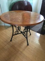 "44"" Dia Round Wooden Table with Metal legs in Joliet, Illinois"