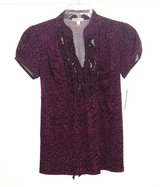 NEW Halo Stretchy Purple Black Ruffle V N3eck Tie Back Blouse Womens Small in Joliet, Illinois