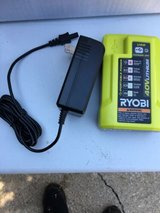 new ryobi 40-volt 40v li-ion replacement spare battery charger w/ usb port op403 AND MANUAL in Westmont, Illinois