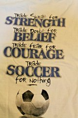 """""""Trade Soccer for Nothing"""" White Cotton Graphic Tee, Front & Back Graphics, Small in Westmont, Illinois"""