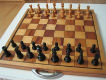 hand-made, wooden chess set, folding board & box, travel, vintage, complete in Kingwood, Texas