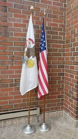 2 Wood Flag Poles with Bases, American and Illinois Flags in Aurora, Illinois