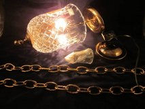 WATERFORD CRYSTAL Glass & Brass Pendant Hanging Light Fixture VINT NEW in Naperville, Illinois
