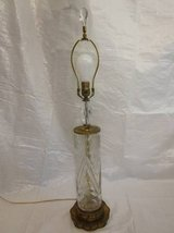 CRYSTAL Glass Brass Lamp Flower Cuts Crystal Finial Filigree ANTIQUE in Plainfield, Illinois
