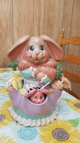 """10"""" Ceramic Hand Painted Mama Rabbit and Her 3 Baby Bunnies in pockets! in Spring, Texas"""