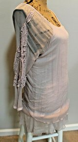 Cute Blush Gauze 3/4 Sleeve Top, Lace Detail, Stretchy Liner, Medium in Westmont, Illinois