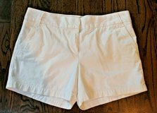 J.Crew City Fit White Cotton Shorts, Chino, Classic Twill, Flat Front, Size 12 in Westmont, Illinois