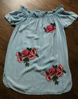 Style Envy Light Chambray Off Shoulder Dress, Rose Patches on Front, Small in Bolingbrook, Illinois