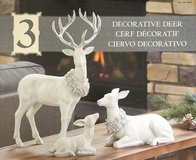 Holiday Christmas Table Top Decorative Deer Family Set Of 3 in Joliet, Illinois