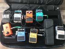 Electric Guitar pedal board with pedals in Yorkville, Illinois