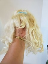 BLONDE CURLY HAIR WIG WITH BANGS AND BLUE BOW * HALLOWEEN COSTUME WIG in Naperville, Illinois