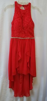 BEAUTIFUL RED SPECIAL OCCASION DRESS DANCE FORMAL DRESS WITH HIGH LOW BOTTOM SIZE 3 in Naperville, Illinois
