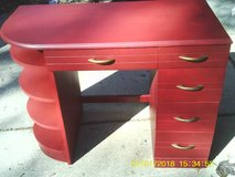 DESK VINTAGE USABLE ALL WOOD PAINTED RED in Naperville, Illinois