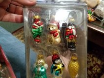 """2"""" Miniature Blown Glass Christmas Ornaments!       Set of 6 …..Candy Cane,, Bear, Angel, Penquin in Spring, Texas"""
