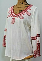 Lucky Brand Beige 3/4 Sleeve Embroidered Classic Boho Top, Medium in Westmont, Illinois