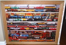 "Vintage LARGE Framed Train Art ~ Lionel Trains ""On the Right Track"" in Westmont, Illinois"