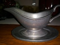 vintage wilton pewter gravy sauce boat with pewter drip plate made in usa in Clarksville, Tennessee