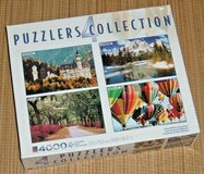 NEW Puzzlers Collection of 4 Deluxe 1000 Piece Puzzls Castle Nat'l Park Balloon Fiesta Savannah Rd in Yorkville, Illinois