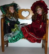 "Like New! 2 Victorian 16"" Porcelain Dolls + Wood Bench in Orland Park, Illinois"