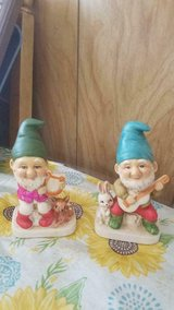 Vintage 70's HOMCO Ceramic Gnomes / Elves Playing Instruments! #5201 Set of 2 in Spring, Texas