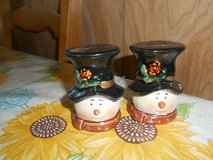 """3"""" Ceramic Snowman Salt and Pepper Shaker Set! 2pc with Stoppers in Spring, Texas"""