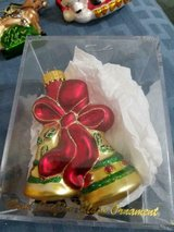 Pretty Blown Glass Golden Bells Ornament! Shiny and Glittery! w/ Acrylic Box in Spring, Texas