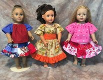 """Handmade 3 holiday outfits valentine's, 4th july & fall harvest Fits American Girl & 18"""" Dolls in Yucca Valley, California"""