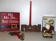 Wood Christmas Sign - Noel + Santa Candle Holder + Bells in Orland Park, Illinois