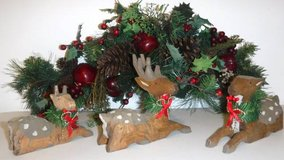 Holiday Evergreen Spray/Swag + Reindeer Decor in Orland Park, Illinois