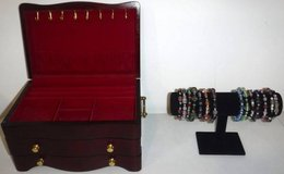 Wooden Jewelry Box -AND- Velvet Stand +14 Bracelets in Orland Park, Illinois