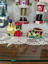"""ceramic train engine ornaments ( mixed set of 2)!  2"""" wide   colorful and shiny! in Spring, Texas"""