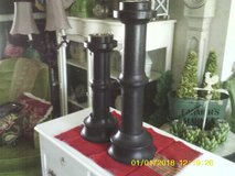 REDUCED....CANDLE HOLDERS WOOD FROM WORLD MARKET TALL in Orland Park, Illinois