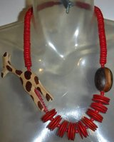 "Vintage 24"" Carved Wood African Giraffe Chunky Necklace in Orland Park, Illinois"